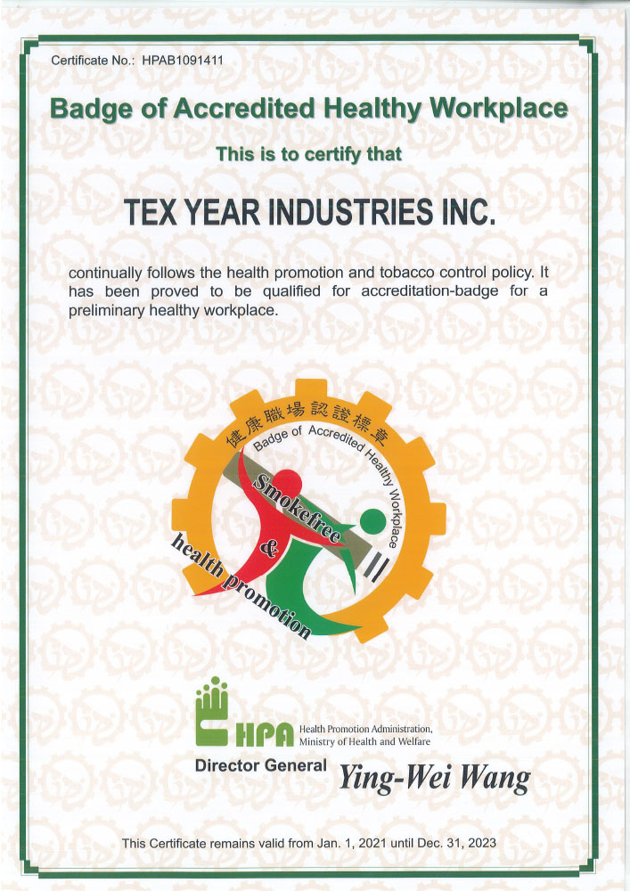 Tex Year Award Badge of Accredited Healthy Workplace
