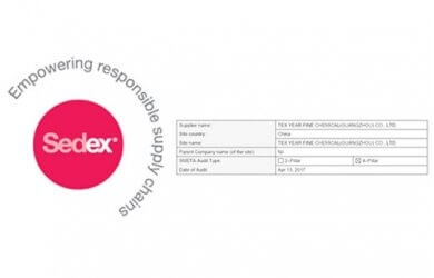 TEX YEAR Group Taiwan Taoyuan Factory Have Obtained SEDEX Certification