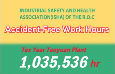TY Taoyuan plant has accumulated 1,035,536 accident-free work hours.